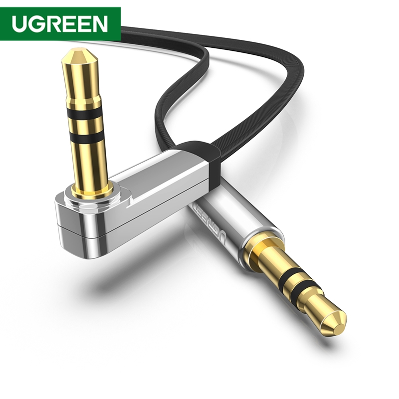 UGREEN 3.5mm Audio Cable Stereo Aux Jack To Jack Cable 90 Degree Right Angle Auxiliary Cord For Beats IPhone IPod IPad Tablets