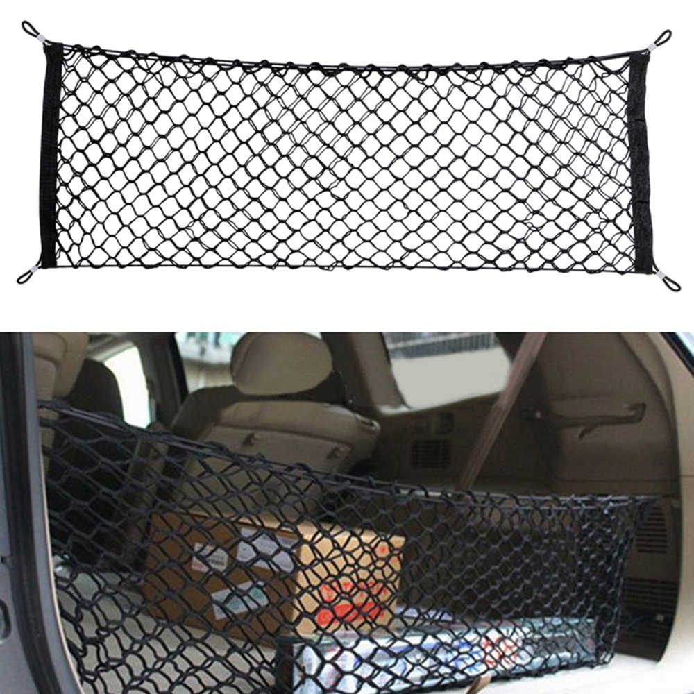Car Auto Trunk Rear Cargo Organizer Storage Mesh Net Holder with 4 Hooks Durable Car Styling Accessories Elastic Hammock