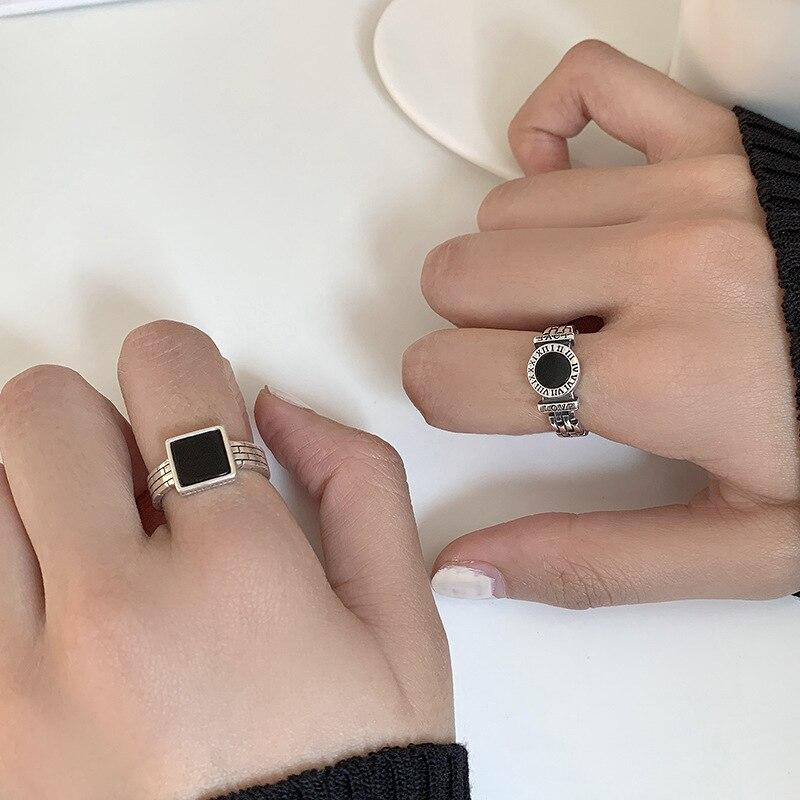 ANENJERY rétro 925 argent Sterling noir goutte glaçure rond carré ouvert anneaux pour femmes hommes chiffre romain anneaux cadeaux S-R957 2