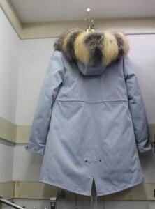 Image 3 - Linhaoshengyue yeni stil tavşan kürk astar elbise kadın 90cm uzun tilki kürk kapı kontrol