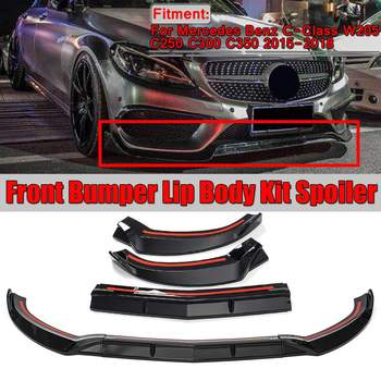 New 3Pcs Car Front Lip Chin Bumper Lip Spoiler Splitters Body Kit For Mercedes For Benz C-Class W205 C250 C300 C350 2015-2018 image