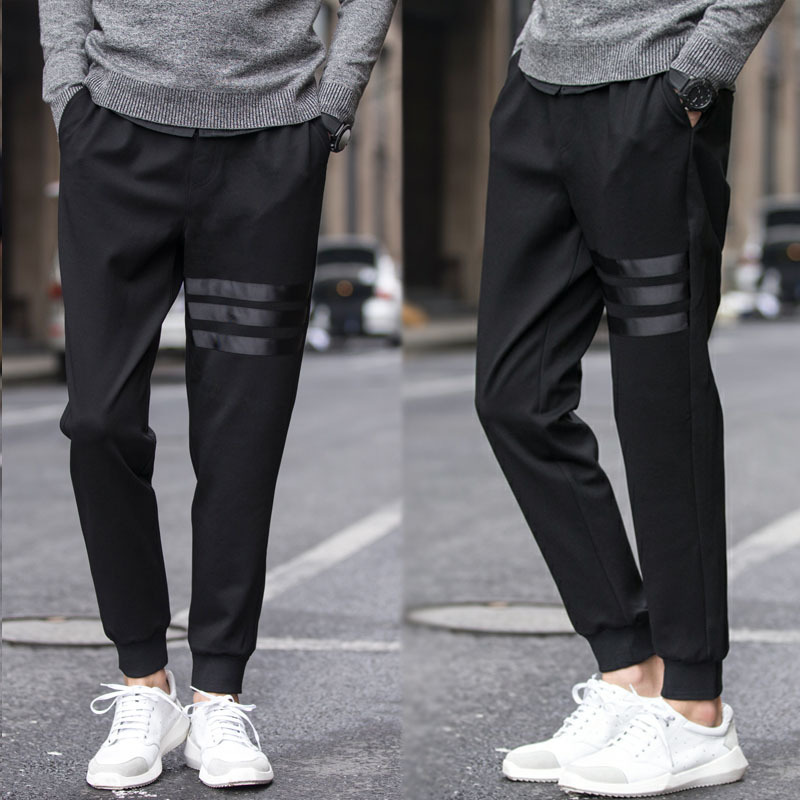 Men New Style Athletic Pants MEN'S Long Trousers Casual Pants Slim Fit Skinny Pants Thin BOY'S Ankle Banded Pants