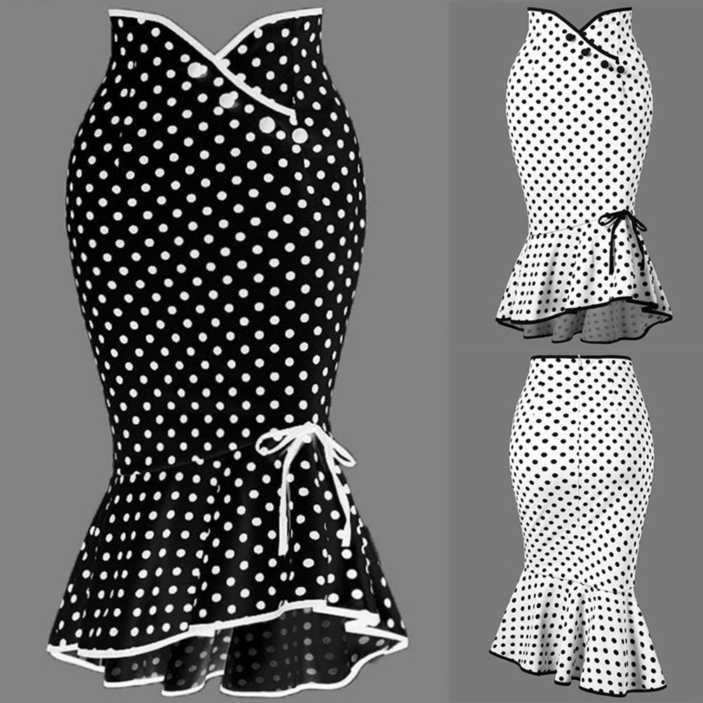 Customize Summer Fashion Women Casual Plus Size M-XXL High Waist Polka Dot Print Mermaid Fishtail Midi Skirts