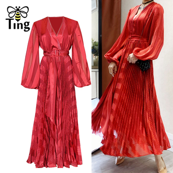 Vestidos de fiesta rojos plisados Tingfly, vestido de noche de cena a rayas con fajas, Vestidos Largos