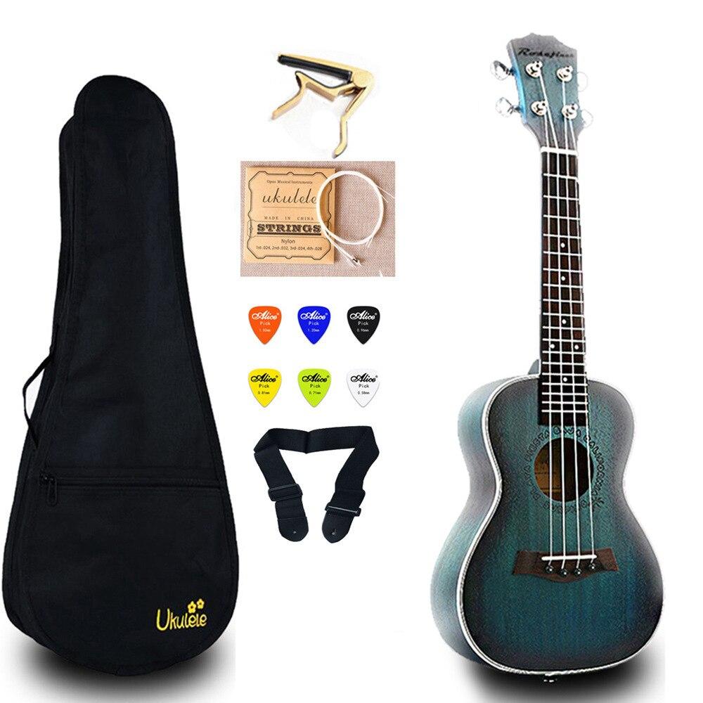 23 pouces Mini guitare Concert ukulélé électrique acajou Ukelele avec sac Capo chaîne sangle choisit cadeau Hawaii guitare UKU UK2329A