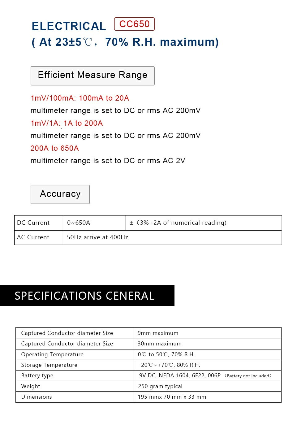 Sensor atual da corrente CC 65 da