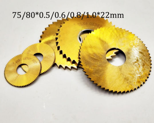 Tin Coating HSS Co Circular Slitting Saw Blade Milling Cutter 75/80*0.5/0.6/0.8/1.0*22mm Inner Dia For Stainless Steel