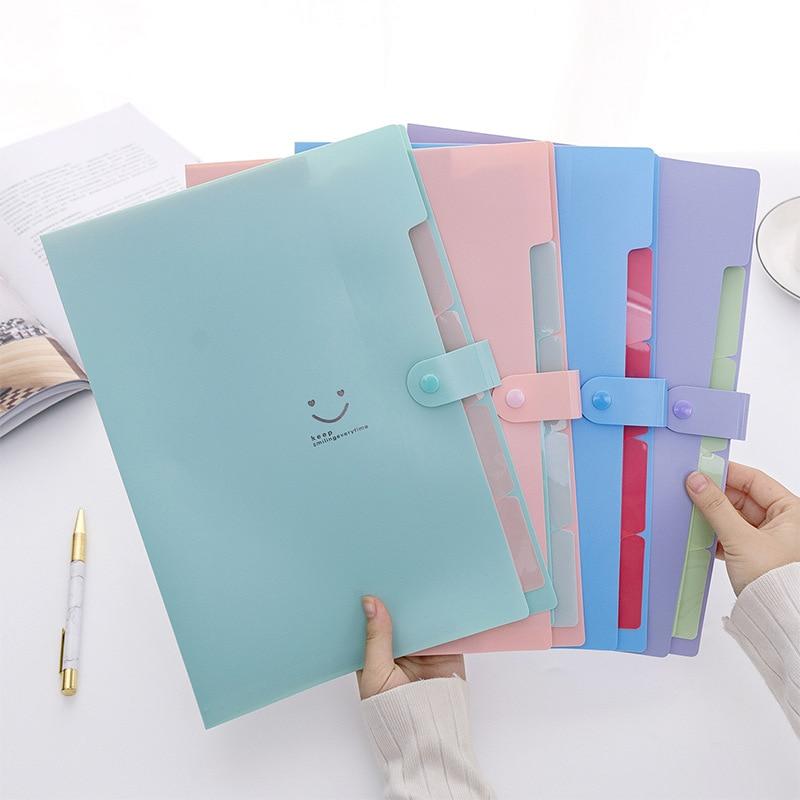 Cute Accordion File Folder Binder A4 Portfolio Kawaii Document Holder PVC Bag Paper Organizer Korean Stationery School Supplies