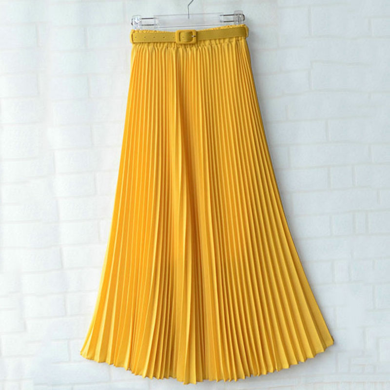 Fashion Women Skirts With Belt High Waist Chiffon Pleated Long Skirts For Women Daily Office Skirts