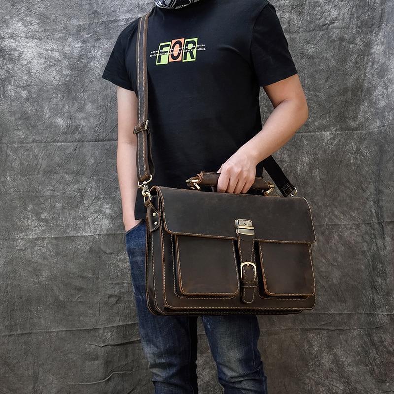 H2c1e0ec13b7c4fafb5bdc527aec185aeX MAHEU Luxury Fashion 100% Genuine Leather Men Briefcase Cow Leather Laptop Bag Vintage Shoulder Bag Real Cowhide Computer Bag