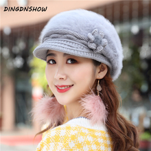[DINGDNSHOW] 2019 New Skullies Beanies Hat Wool Bowknot Bonnet Warm Knitted Winter Cap Women