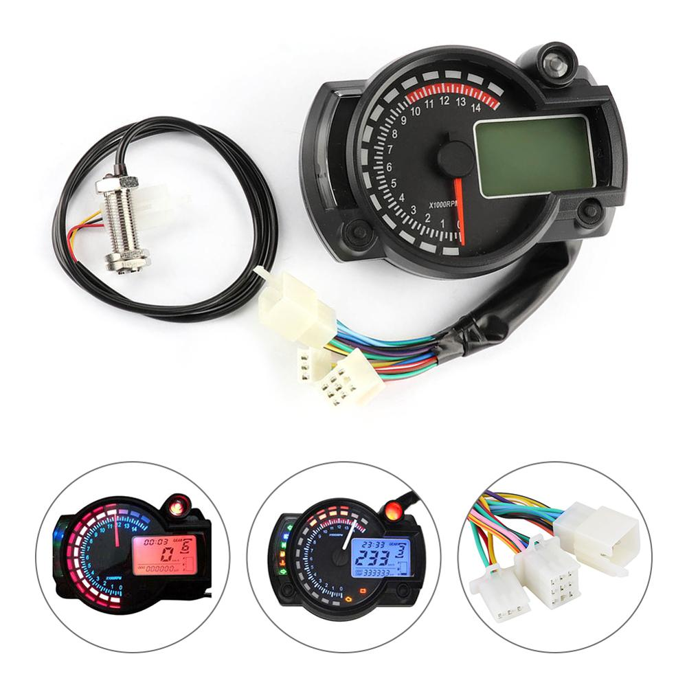 Universal new and high quality LCD Digit 15000rpm Motorcycle Speedometer Gauge Tachometer Odometer image