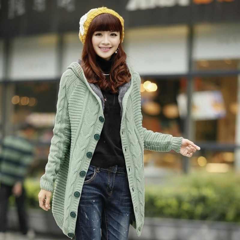 Musim Semi Korea Musim Dingin Wanita Berkerudung Pertengahan Panjang Menebal Sweater Perempuan Hangat Cardigan Slim Fit Mantel Hangat Mantel Lebih Tahan Dr Ukuran Lebih