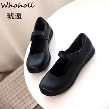 цены Whoholl Brand Student Shoes College Girl LOLITA Shoes Cosplay JK Uniform Women Flats PU Leather Heart-shaped Platform Shoes 39