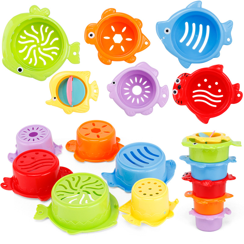 6Pcs/set Baby Float Water Stacking Cups Classic Bath Toy Swimming Educational Toys For Children Plastic Fish Animal For Bathroom