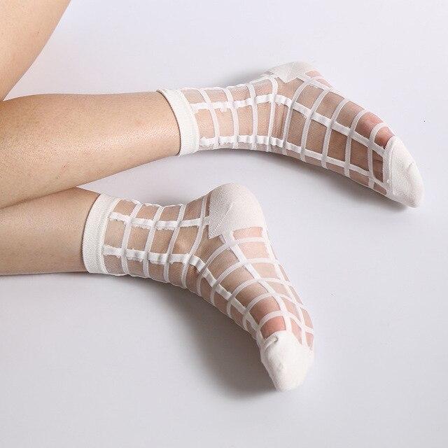ukraine meias e girl calcetines Socks female thin crystal transparent stockings mujer christmas ukraine femme kawaii miniso