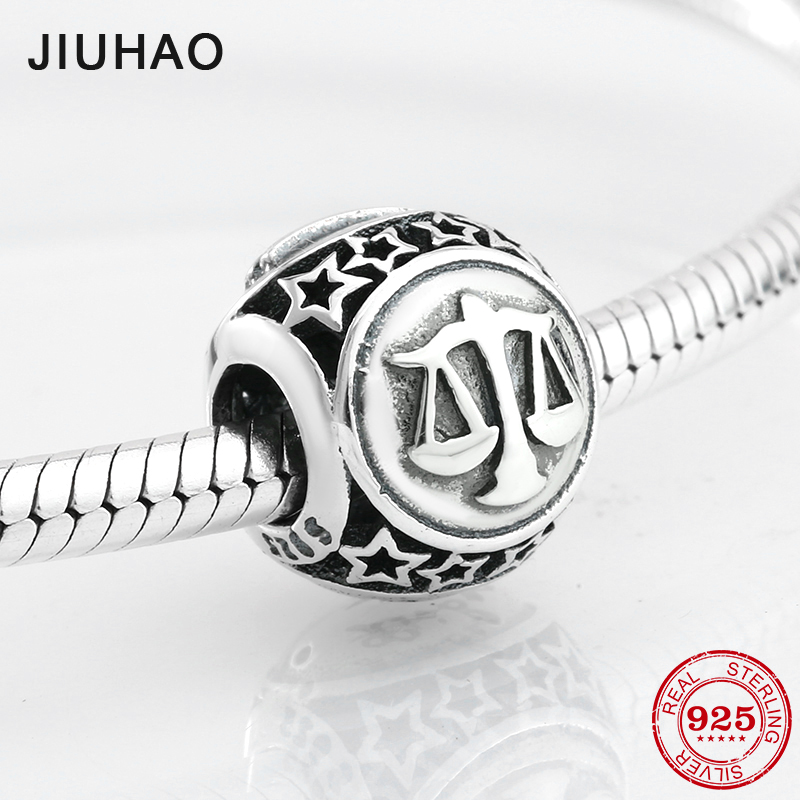 2018 Fashion 925 Sterling Silver 12 Constellation Libra Round Shape Beads Fit Original Pandora Charm Bracelet Jewelry Making