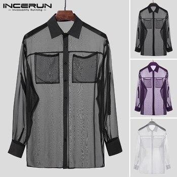 INCERUN Fashion Men Mesh Shirt Transparent Long Sleeve Turn-down Collar Pockets Party Nightclub Shirts Mens Sexy Streetwear Tops