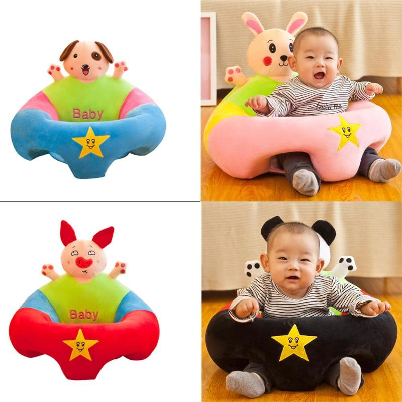 Cartoon Baby Sofa Cover Support Seat Cover Baby Plush Chair Learning To Sit Toddler Nest Puff Washable Without Filler Cradle