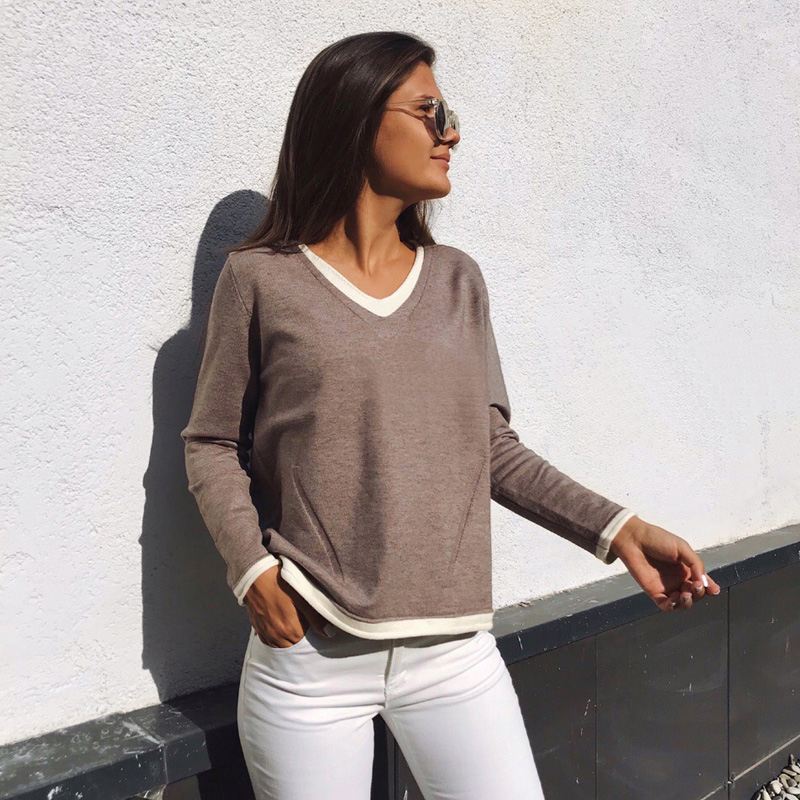 Autumn And Winter Women's Sweater Casual Solid Color V-neck Long-sleeved Fake Two-piece Sweater