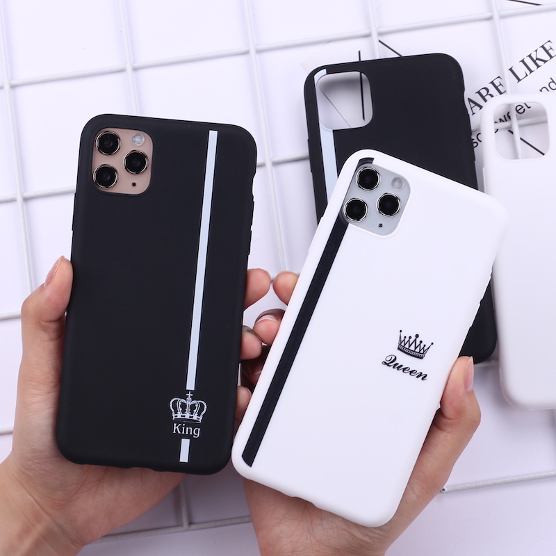 King Queen Crown Striped Lover Phone Cover For iPhone 11 Pro Max X XS XR Max 7 8 7Plus 8Plus 6S SE Soft Silicone Case Fundas(China)