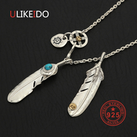 925 Sterling Silver Necklace For Men Blue Turquoise Feather Charms Eagle Pendant Chain New Fine Jewelry P28