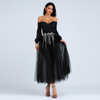 Lace Up Ball Gown Womens Skirt Black High Waist Mesh Sexy Night Club Robe Femme Elegant Evening Party Skirts