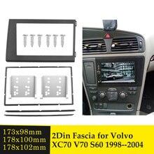 2Din Phát Thanh Xe Hơi Fascia Cho Volvo XC70 V70 S60 1998 2004 Double DIN Stereo Đĩa Viền Bộ Khung Bảng Điều Khiển GẠCH NGANG CD DVD Khung Gắn Bộ