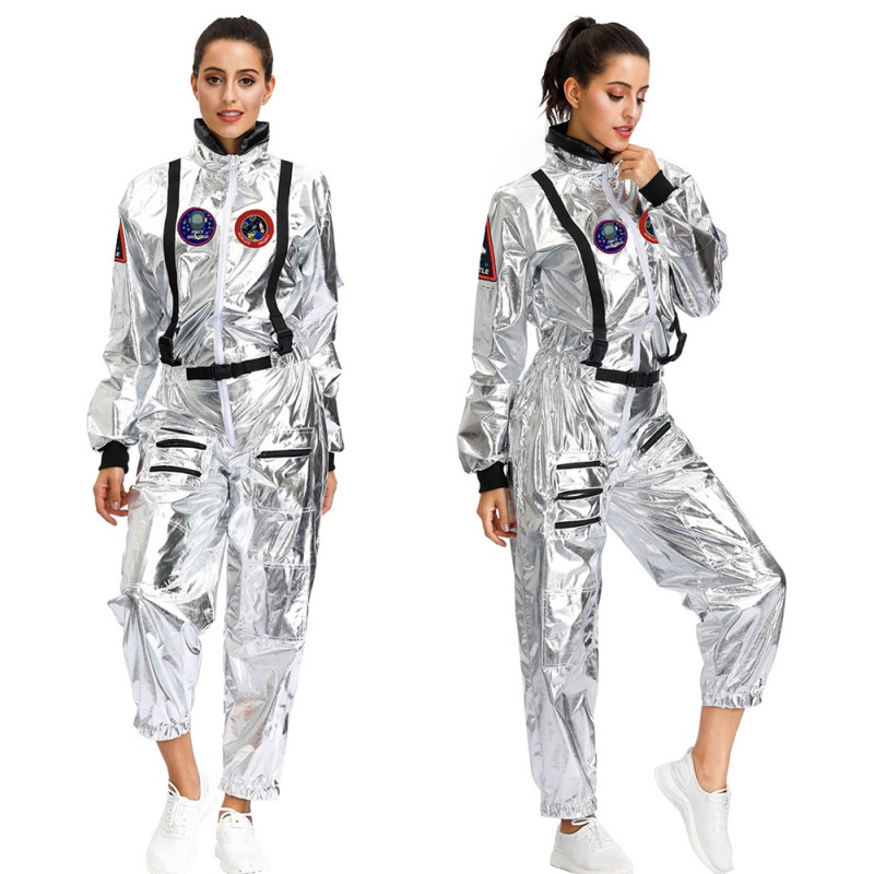 Halloween Costumes For Women Astronaut Female Space Cosplay Clothing Dazzling Coating Silver Jumpsuit Sets M L XL!