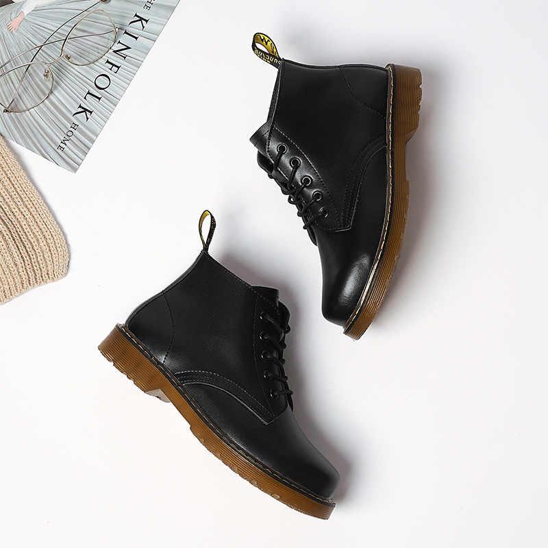 2019 Mắt Cá Chân Giày Nữ Mùa Đông Chính Hãng Da Buộc Dây Công Sở Nữ Giày Mũi Tròn Mùa Thu Giày Nữ Màu Đen Thời Trang giữ Ấm