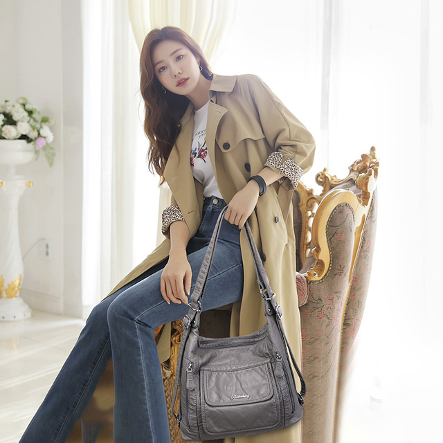 Women's bag large capacity soft PU leather handbag 2020 new trend ladies shoulder messenger bag gray 2