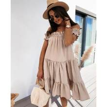 Women Dress Solid Color Slash Neck Loose Ladies Dresses Ruffle Mini Dress Summer Outdoor Beach Casual Mujer Vestido 2021 Fashion