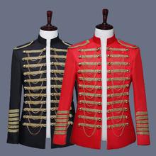 Europejskiej armii jednolite garnitur Blazer mężczyźni stoją kołnierz metalowy łańcuch męskie czerwone kurtki etap ślub piosenkarka kostiumy męskie DJDT1499 tanie tanio DJNIGHT Pojedyncze piersi Ścięty Marynarek Pełna REGULAR Anglia styl spandex S M L XL 2XL 3XL Black Red Coat