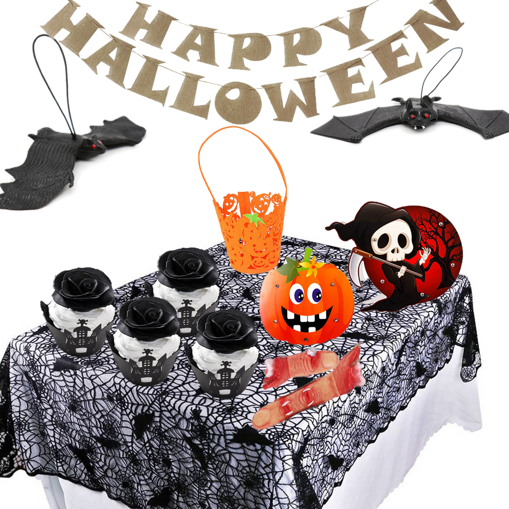 Halloween Decoration Lace Knitted Spider Web Table Cloth Cake Wrapper Ghost Skull Pumpkin Candy Bag Confetti Light Party Supply