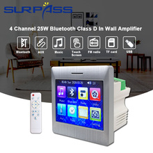 4 Channel 25W Bluetooth Class D In Wall Amplifier Audio Touch Screen for Speaker Smart Home Theater Cinema System FM Radio Aux