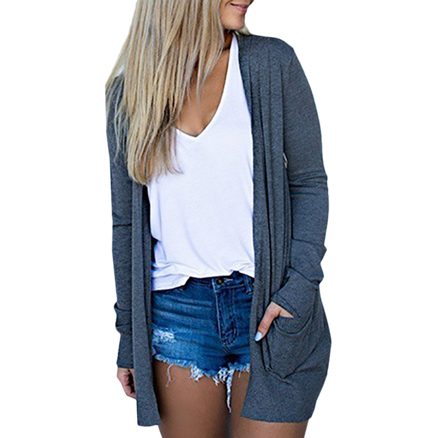 Solid Women Cardigans Long Sleeve Loose Mid Length Knittwear Casual Sweater Cardigan Female Thin Knitted Coat Cardigan Women 3
