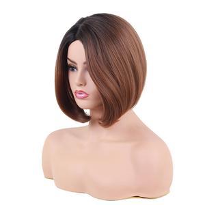 Image 3 - EASIHAIR peruka z krótkim bobem dla kobiet włosy syntetyczne przedziałek z boku żaroodporne Ombre peruki wysokiej temperatury włókna Glueless peruka z prostymi włosami