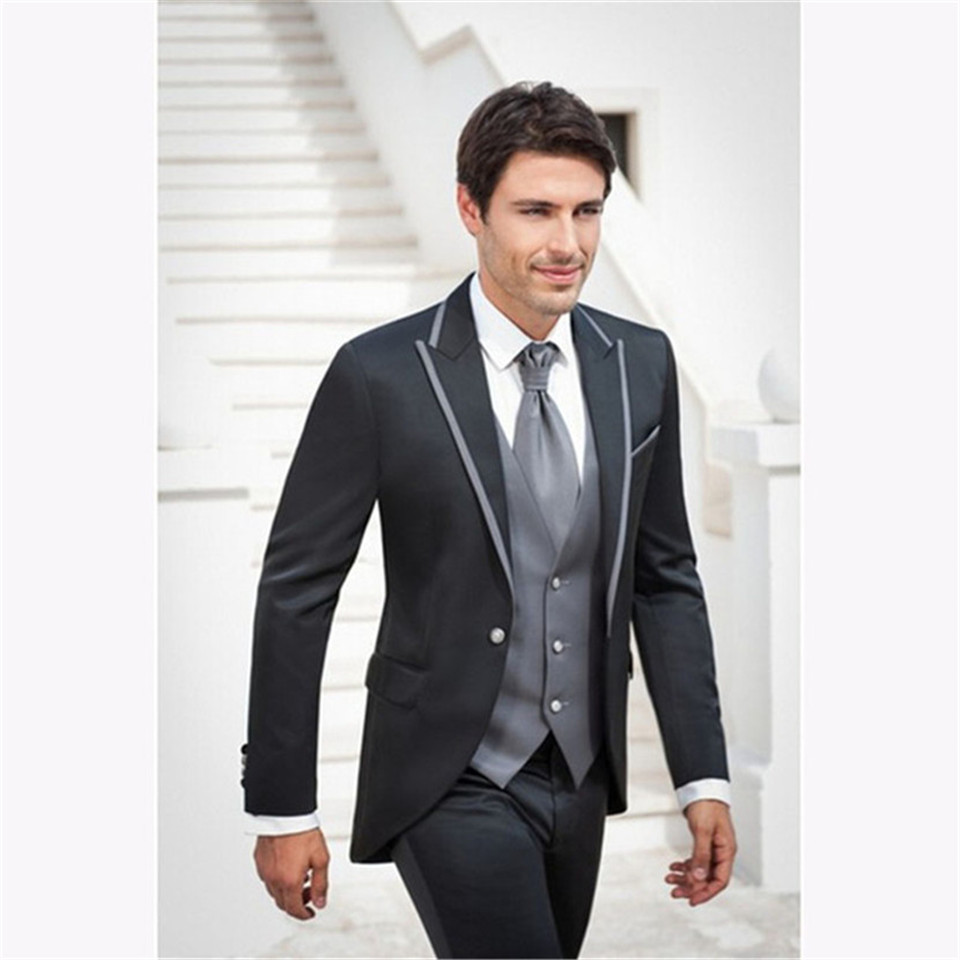 New Classic Men's Suit Smolking Noivo Terno Slim Fit Easculino Evening Suits For Men Grey Groomsmen Wedding Tuxedo Business Offi