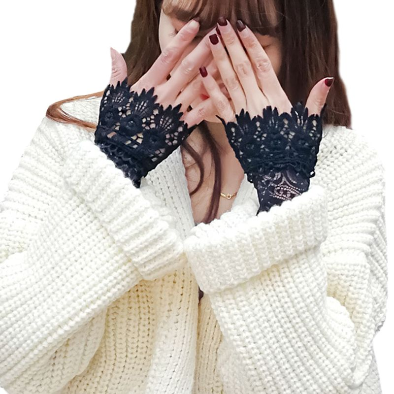 Decorated Cuff Women Sweater Ruffles Fake Sleeves Hollow Crochet Lace Arm Warmer