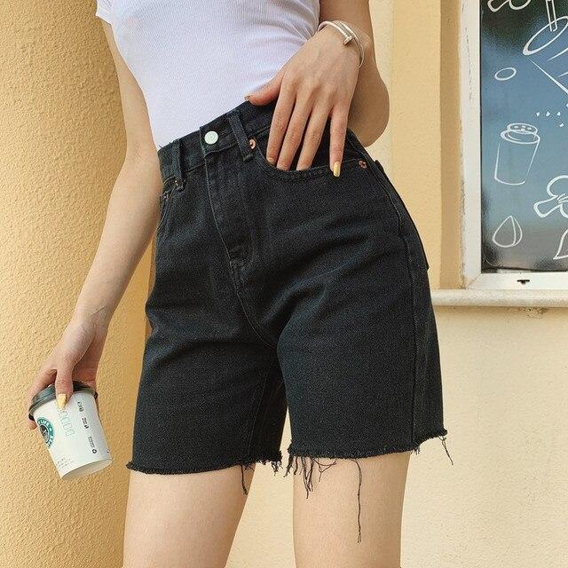 Slim Denim Shorts with high waist