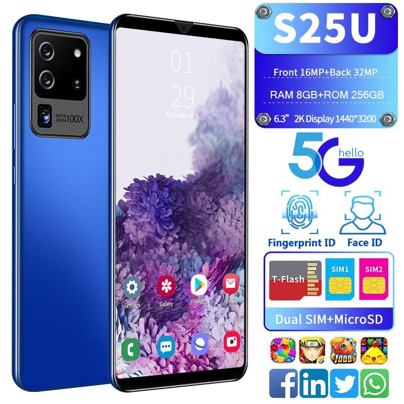 Новый смартфон S25U 10 ядер 8G 256G отпечаток пальца разблокирует две карты в режиме ожидания 6,3 дюймовый полноэкранный ультралегкий телефон 4G се...