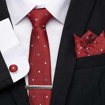 New 7.5cm Men's Classic Red Dot Stripe Tie Set Jacquard Woven 100% Silk Tie Formal Dress Accessories Bridegroom Floral Necktie floral embroidered tie detail stripe dress