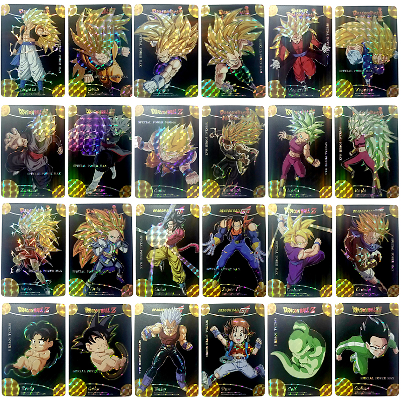 52pcs/lot Dragon Ball Super Black Gold Flash Cards Super Dragon Ball Heroes Goku Game Collection Cards Gifts For Children Toys