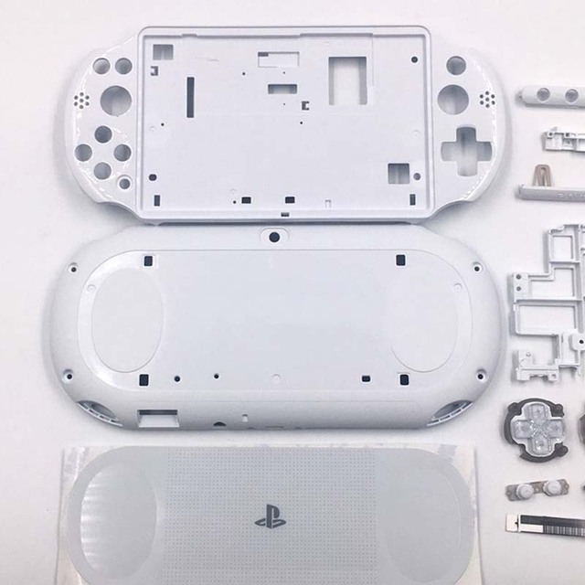 Black/White Shell Case Housing Front Faceplate Case Shell Cover Full Buttons Replacement for PSV2000 PSVITA 2000 Console