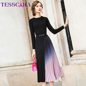 Image 4 - TESSCARA suéter elegante para mujer, vestido de otoño e invierno, de diseñador, para cóctel, plisado, largo, de alta calidad, para oficina y fiesta