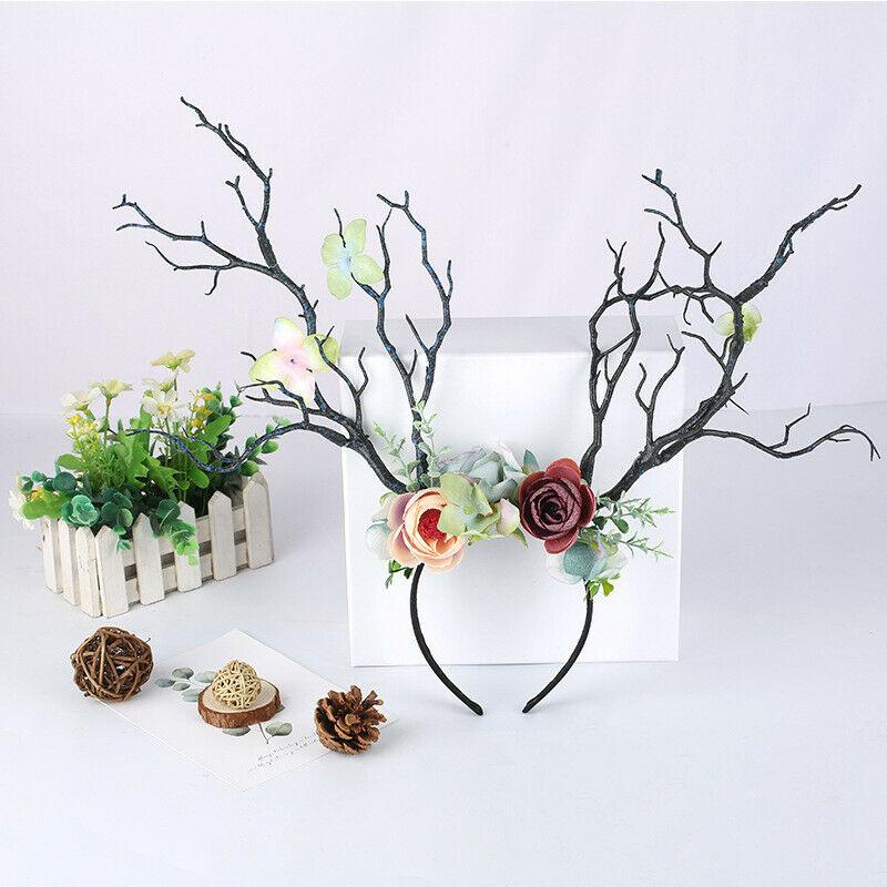 Flower Headband Crown Antler-Hair Festival Ears Deer Christmas-Fairy Women Party-Props