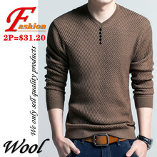 High-end men's V-neck sweater British style Soft Breathable Comfortable Crease proof Colorfast Anti-Pilling Keep-warm Noble Wool