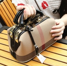 Classic Plaid Luxury Lady Handbag Canvas Leather Women Clutch Premium Satchel Shoulder Bag Mochila