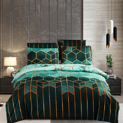 Geometric Gilt Duvet Cover Set Nordic 240x220 King Size Bedding Sets Double Queen Plaid Quilt Covers Pillowcase (No Bed Sheet)