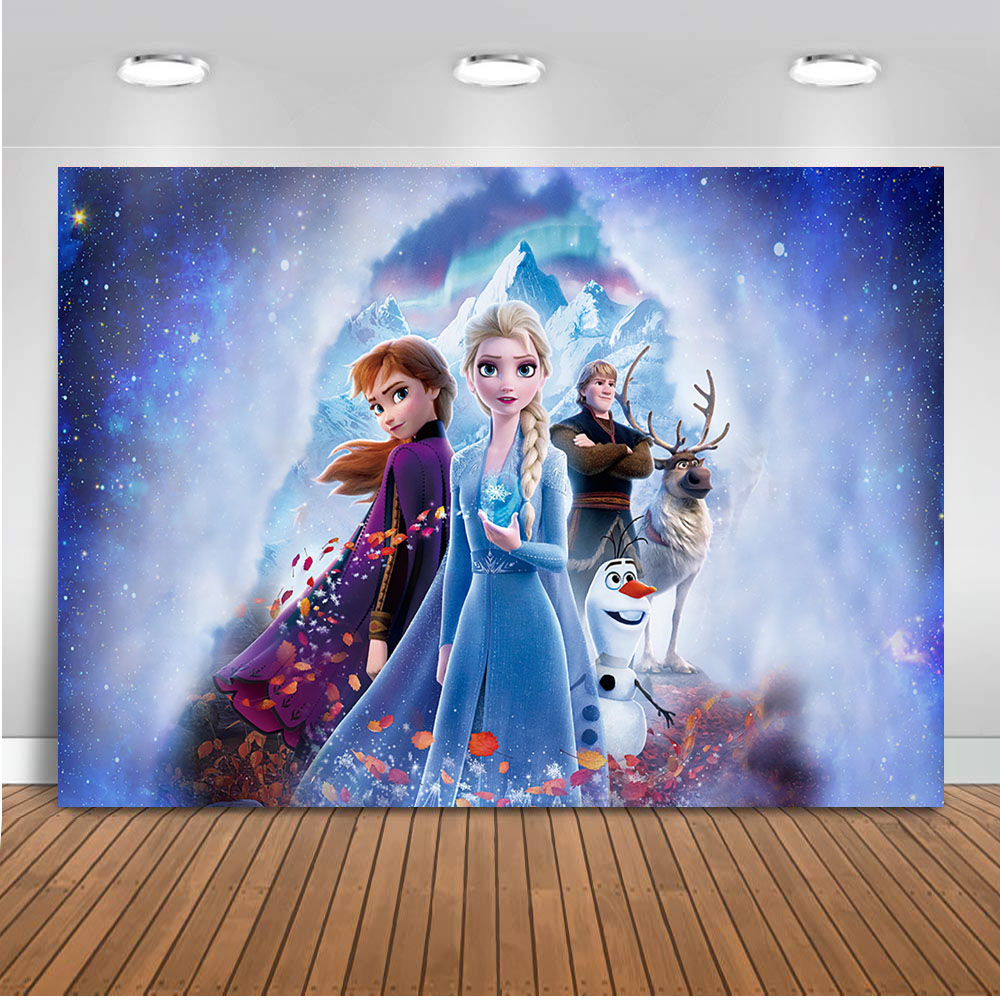 Frozen Birthday Princess Photography Background Elsa Children Baby Ice cream winter Backdrop Photocall Backdrop Photo Studio